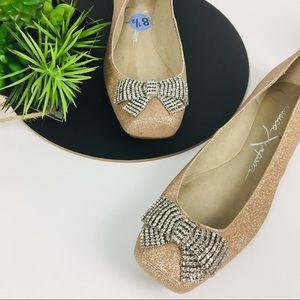 Jessica Simpson NEW Glitter w/bow Flats size 8.5